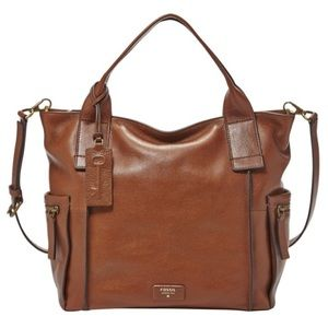 NEW Fossil Emerson Large Satchel Cognac Leather